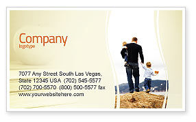 People: Father and Kids Business Card Template #06118