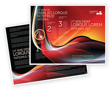 Abstract Red Wave Brochure Template, 06158, Abstract/Textures — PoweredTemplate.com