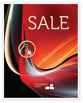 Abstract Red Wave Sale Poster Template, 06158, Abstract/Textures — PoweredTemplate.com