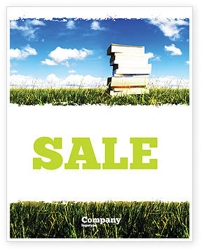 Book Pile Sale Poster Template, 06195, Education & Training — PoweredTemplate.com