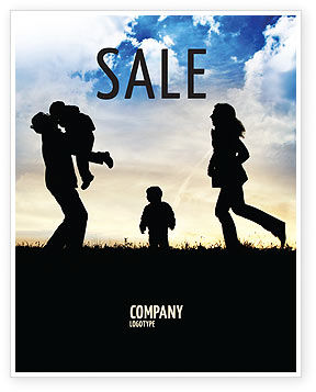 Family Happiness Sale Poster Template, 06199, People — PoweredTemplate.com
