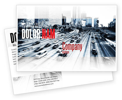 Cars/Transportation: City Highway Postcard Template #06261
