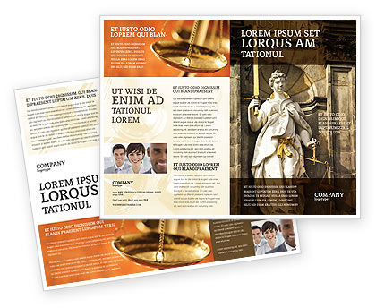 Lady Justice Brochure Template, 06281, Legal — PoweredTemplate.com