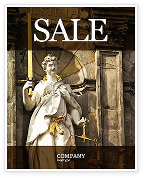 Lady Justice Sale Poster Template, 06281, Legal — PoweredTemplate.com