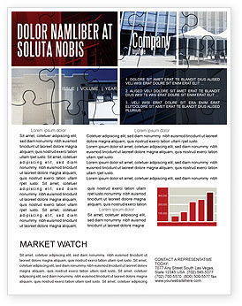 Business Center Puzzle Newsletter Template, 06308, Consulting — PoweredTemplate.com