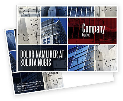 Consulting: Business Center Puzzle Postcard Template #06308