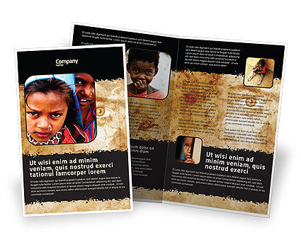 Children Around The World Brochure Template, 06312, People — PoweredTemplate.com