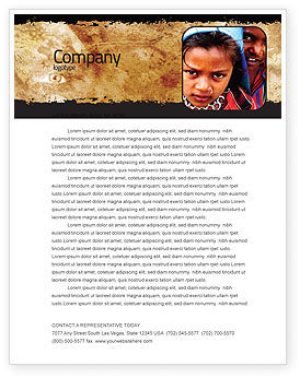 Children Around The World Letterhead Template, 06312, People — PoweredTemplate.com