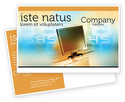 Computer Media Postcard Template, 06320, Technology, Science & Computers — PoweredTemplate.com