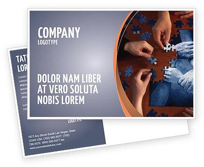 Team Building Puzzle Postcard Template, 06348, Business Concepts — PoweredTemplate.com