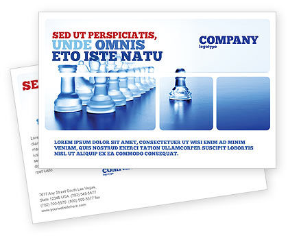 Business Concepts: Glass Chess Postcard Template #06365