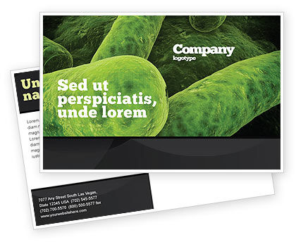 Bacilli In Green Color Postcard Template, 06436, Medical — PoweredTemplate.com