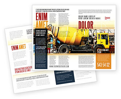 Concrete Agitator Brochure Template, 06449, Construction — PoweredTemplate.com