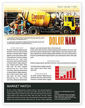 Construction: Concrete Agitator Newsletter Template #06449