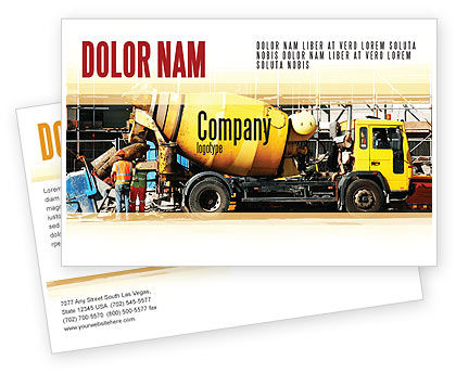 Construction: Concrete Agitator Postcard Template #06449