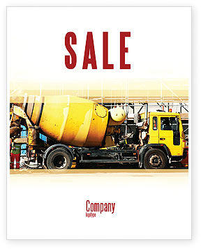 Construction: Concrete Agitator Sale Poster Template #06449
