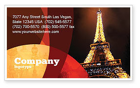 Holiday Eiffel Tower Business Card Template, 06450, Flags/International — PoweredTemplate.com