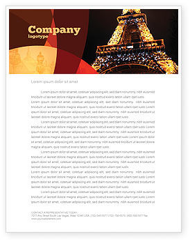 Flags/International: Holiday Eiffel Tower Letterhead Template #06450