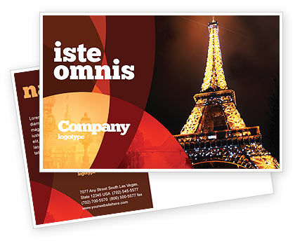 Flags/International: Holiday Eiffel Tower Postcard Template #06450