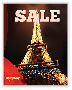 Flags/International: Holiday Eiffel Tower Sale Poster Template #06450
