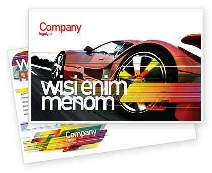 Cars/Transportation: Red Supercar Postcard Template #06454