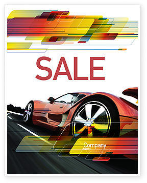 Cars/Transportation: Red Supercar Sale Poster Template #06454