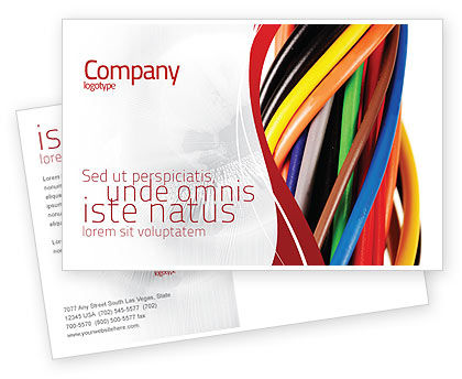 Telecommunication: Cables Postcard Template #06465