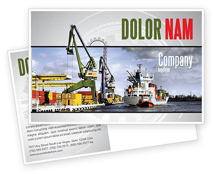 Shipyard Postcard Template, 06499, Cars/Transportation — PoweredTemplate.com