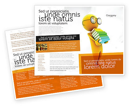 Man With A Stack Of Book Brochure Template, 06524, Education & Training — PoweredTemplate.com