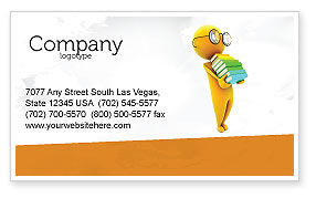 Education & Training: Man With A Stack Of Book Business Card Template #06524