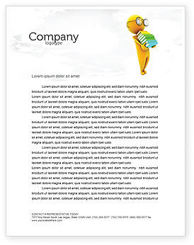Education & Training: Man With A Stack Of Book Letterhead Template #06524