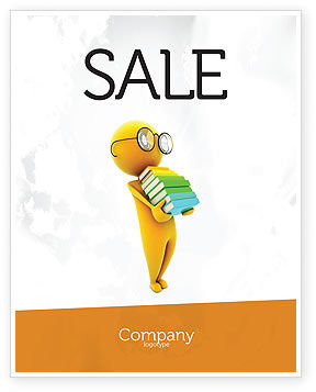Education & Training: Man With A Stack Of Book Sale Poster Template #06524