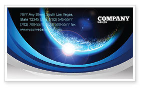 Technology, Science & Computers: Blue Sunset in Space Business Card Template #06527