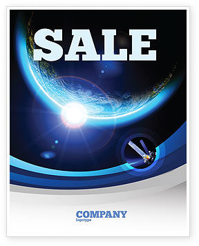 Blue Sunset in Space Sale Poster Template