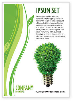 Technology, Science & Computers: Green Eco Lamp Ad Template #06530