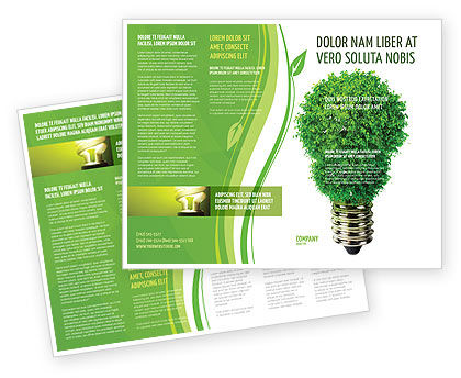 Green Eco Lamp Brochure Template, 06530, Technology, Science & Computers — PoweredTemplate.com