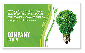 Technology, Science & Computers: Green Eco Lamp Business Card Template #06530