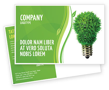 Technology, Science & Computers: Green Eco Lamp Postcard Template #06530