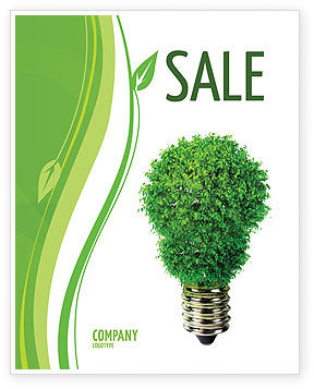 Technology, Science & Computers: Green Eco Lamp Sale Poster Template #06530