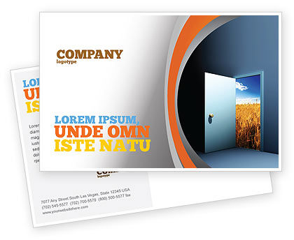 Open Door To The World Postcard Template, 06533, Consulting — PoweredTemplate.com