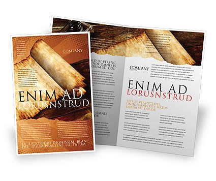 Ancient Scroll Brochure Template, 06539, Education & Training — PoweredTemplate.com