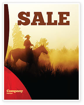 Cowboy Rider Sale Poster Template, 06571, America — PoweredTemplate.com