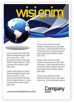 Midnight Blue Globe Ad Template, 06588, Global — PoweredTemplate.com