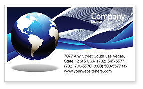 Global: Midnight Blue Globe Business Card Template #06588