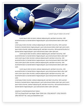 Global: Midnight Blue Globe Letterhead Template #06588