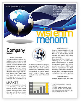 Midnight Blue Globe Newsletter Template, 06588, Global — PoweredTemplate.com