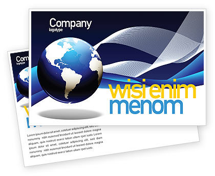 Global: Midnight Blue Globe Postcard Template #06588