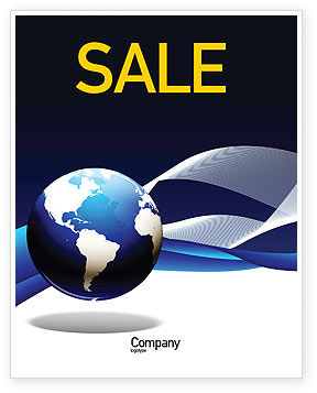 Global: Midnight Blue Globe Poster Template #06588