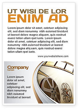 Film Reel In Light Brown Color Ad Template, 06599, Art & Entertainment — PoweredTemplate.com