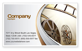 Film Reel In Light Brown Color Business Card Template, 06599, Art & Entertainment — PoweredTemplate.com